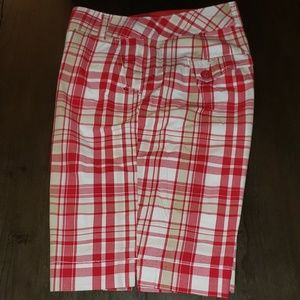 New Cato Red Plaid Bermuda Shorts